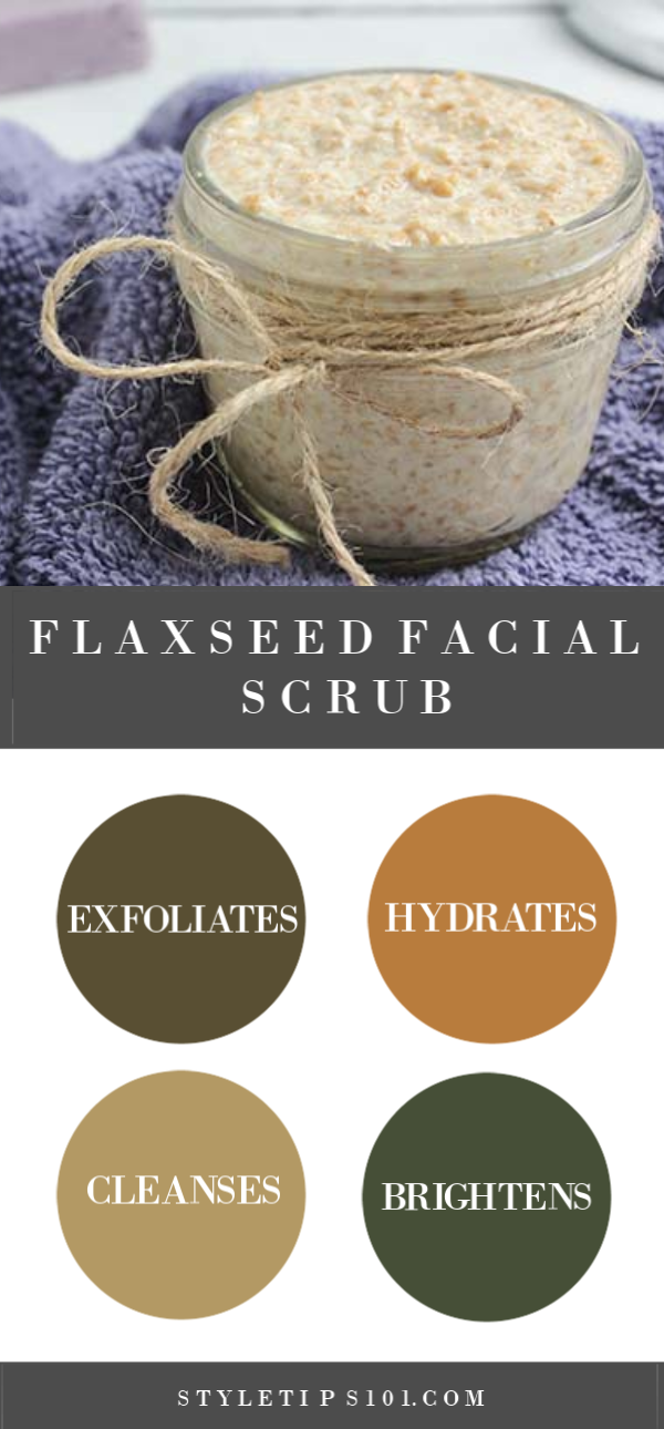 This homemade flaxseed facial scrub will gently exfoliate, cleanse, hydrate, and leave skin super soft and glowing after just one use! #flaxseedscrub #diybeauty