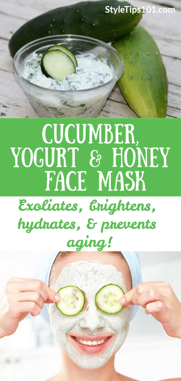 This DIY yogurt, cucumber, & honey face mask is all you need to get bright, smooth, and glowing skin!  #honeyfacemask #diyfacemask