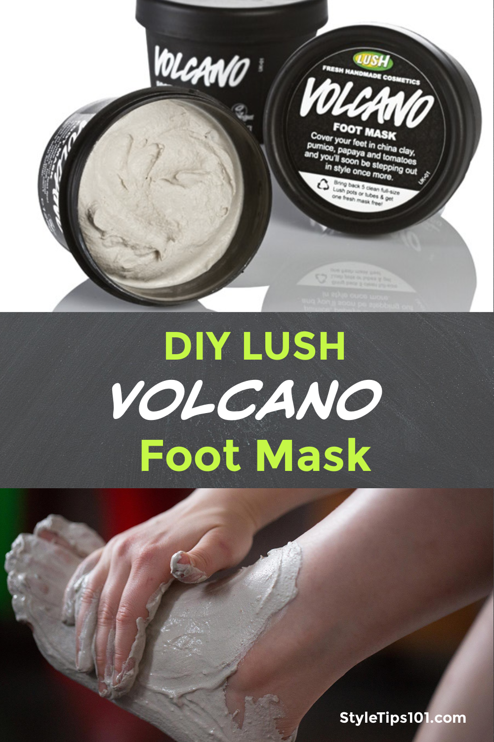 This DIY Lush Volcano foot mask is an amazing example of what you can make at home with just a few simple ingredients! #diylushvolcanofootmask #lushdupes