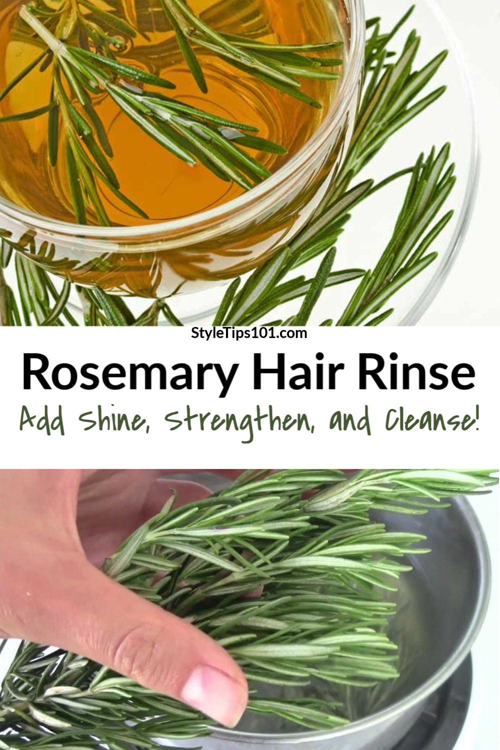Try a rosemary hair treatment rinse to stimulate hair growth and leave it shinier than ever! #rosemaryhairtreatment #hairrinse
