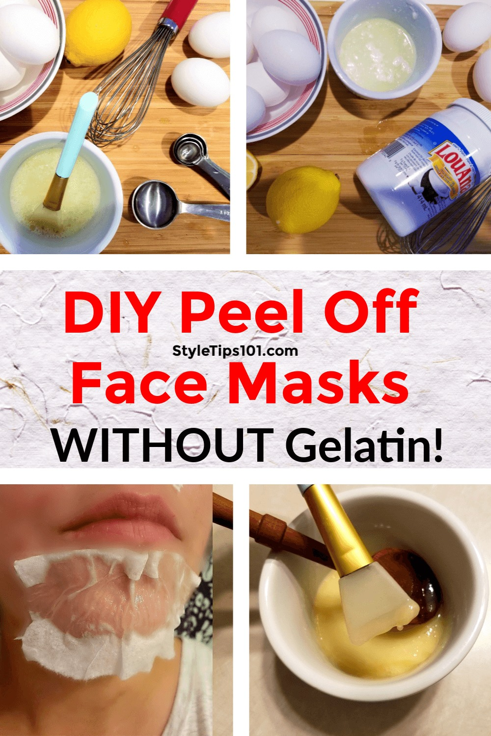 We\'ve got 3 different DIY peel off face mask without gelatin recipes that will unclog pores, prevent acne, get rid of blackheads, and more!